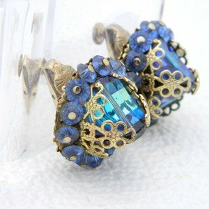 VENDOME Gold Tone Blue Green AB Faceted Earrings